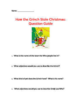 How The Grinch Stole Christmas Book Pdf.How The Grinch Stole Christmas Movie Questions Worksheets