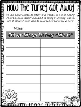 How The Turkey Got Away --- A Turkey Escape Narrative Writing Book Project
