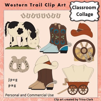 Western Trail Clip Art - Color  personal & commercial use Trina Clark