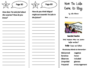 How Tia Lola Came To Stay Trifold - Journeys 4th Grade Unit 1 Week 3