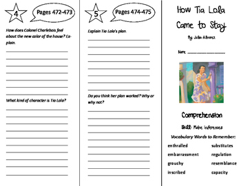 How Tia Lola Came to Stay Trifold - California Treasures 6th Grade Unit 4 Week 5