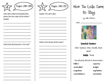 How Tia Lola Came to Stay Trifold - Wonders 6th Grade Unit 3 Week 1