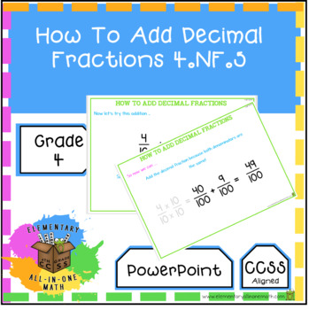 How To Add Decimal Fractions - PowerPoint 4th Grade Math (4.NF.5)