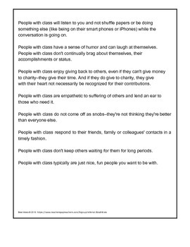 How To Be A Person Of Class | Handout For Reading