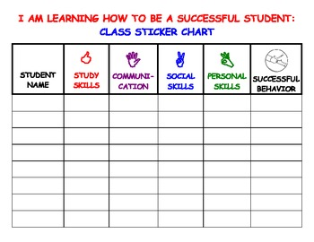 Successful Behavior Class Sticker Chart by Student Success ...
