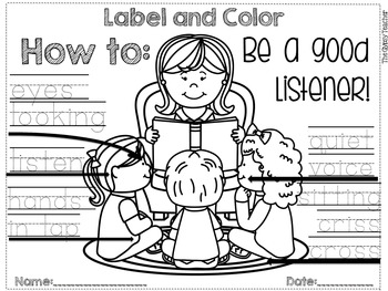 How To: Be a Good Listener LABEL AND COLOR - The Gypsy Teacher