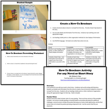 How-To Brochure Activity, Works with any Novel or Short Story