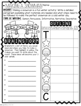 It's Time to Build a Snowman!  How-To Step-Up Paragraph Packet