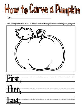 How-To Carve a Pumpkin - Writing Activity 1st and 2nd Grade Common Core Aligned