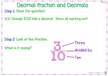 How To Change A Decimal Fraction Into A Decimal - Flip Book - (4.NF.6)
