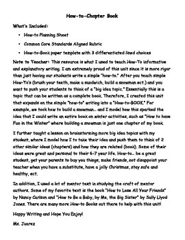 How-To-Chapter Book Writing: 1st Grade Informative/Explana