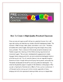 How To Create A High Quality Preschool Classroom