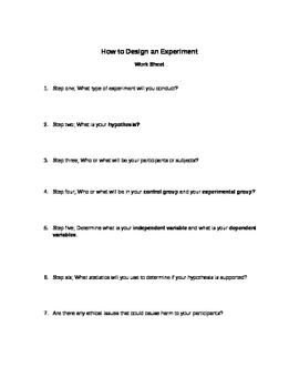 How To Design An Experiment Worksheet