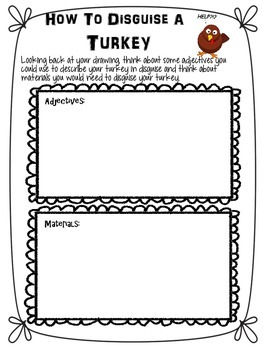 How To Disguise A Turkey-Writing Activity