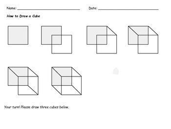 How To Draw a Cube ~ Quick Math or Drawing Activity ~ Grades 1-3