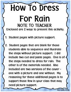 How To Dress For Rain ~ Writing