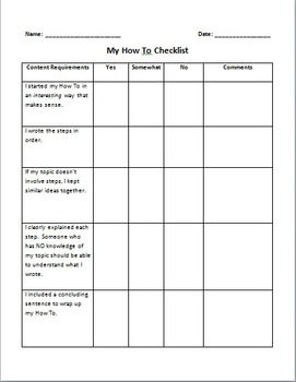 How-To Essay Checklist and Grade Sheet
