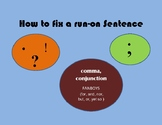 How To Fix a Run-on Sentence Poster (8 1/2 x 11 paper size)