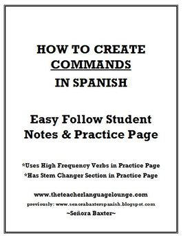 How To Form Commands in Spanish Notes & Practice Activities