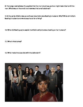 How To Get Away With Murder Ep1 Movie Worksheet