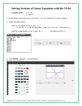 How To Graph/Solve Linear Systems with TI-84 Calculator