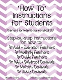 'How To' Instructions (Step-by-Step solving fractions and