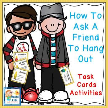 SOCIAL SKILLS TASK CARDS: How To Share A Conversation & Ask A Friend To Hang Out
