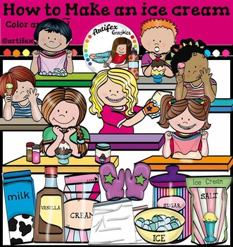How To Make An Ice Cream clip art. Color and B&W
