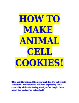 How To Make Animal Cell Cookies