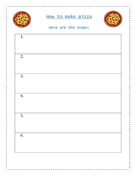 Pizza - A Hands-On How-To/ Sequencing Writing Activity