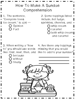 How To Make a Sundae: A Reading and Writing Unit