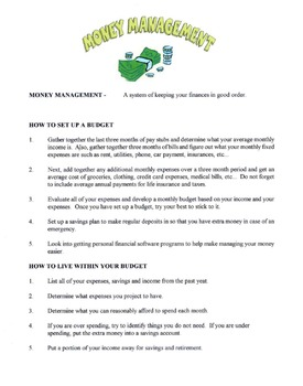 How To Manage Your Money Lesson