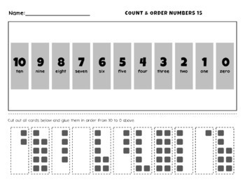 Order and Count Numbers 0 to 10 Worksheet Activities
