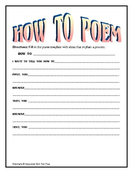 How To Poem Template and Example