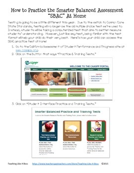 How To Practice the Smarter Balanced Test (SBAC) At Home Handout for Parents