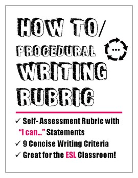"How To/Procedural Writing Rubric - ""I can..."" Statements"
