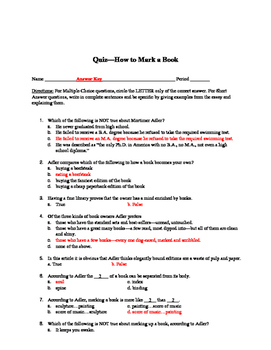 How To Read a Book Article and Quiz