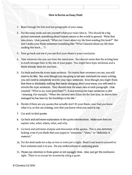 How To Revise A Literary Analysis Essay: A Step-By-Step Handout For Students
