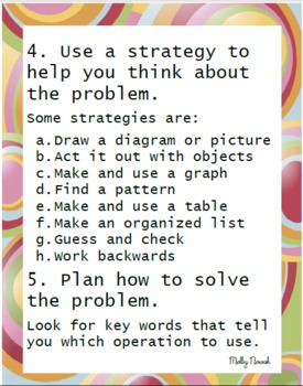 How To Solve Word Problems Classroom Posters funky frame