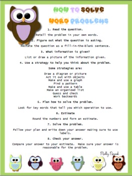 How To Solve Word Problems Student Sheet owl frame