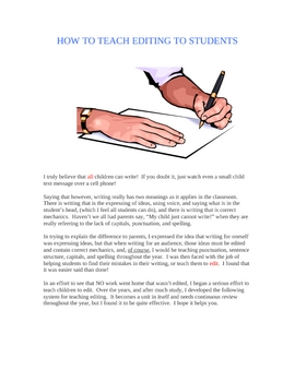 HOW TO TEACH EDITING TO STUDENTS