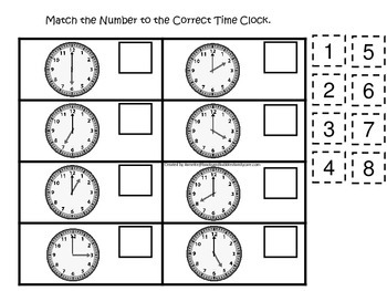 How To Tell Time themed Match the Number preschool educati