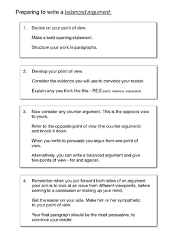 How To Write A Balanced Argument Or A Discursive Essay (9-14 years)