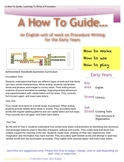 How To Write A Procedure-English Unit for ages 5-7