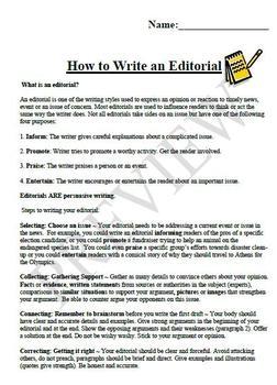 How To Write An Editorial by Kerri Wall | Teachers Pay Teachers