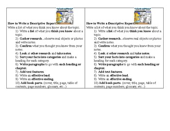 How To Write Descriptive Informational Reports- Mini Posters