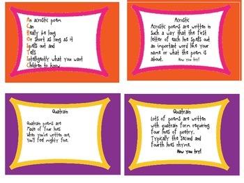 How To Write Poetry Task Cards