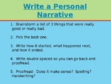How To Write a Personal Narrative -- Easy Steps with Sentence Starters