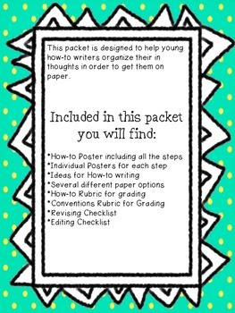 How-To Writing Packet with Rubric!