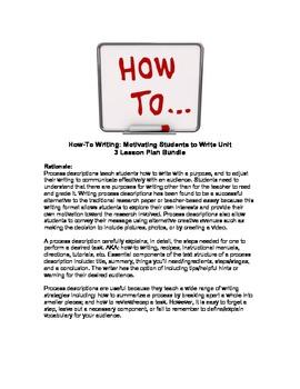 How-To Writing Unit - 3 Lesson Plan Bundle
